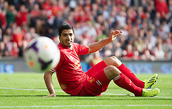 LIVERPOOL, ENGLAND - Saturday, October 5, 2013: Liverpool's Luis Suarez in action against Crystal Palace during the Premiership match at Anfield. (Pic by David Rawcliffe/Propaganda)