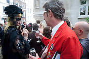 PAM HOGG; DUGGIE FIELDS, Sebastian Horsley funeral. St. James's church. St. James. London afterwards in the church garden. July 1 2010. -DO NOT ARCHIVE-© Copyright Photograph by Dafydd Jones. 248 Clapham Rd. London SW9 0PZ. Tel 0207 820 0771. www.dafjones.com.