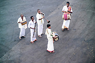 Musicians in Chennai Port welcome a passenger ship to India, Chennai, India.  Chennai, formerly known as Madras, is the capital of the Indian state of Tamil Nadu and is located on the Bay of Bengal.