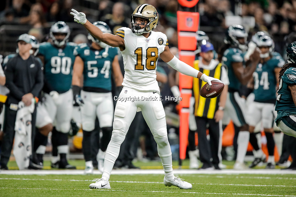 Nov 18, 2018; New Orleans, LA, USA; New Orleans Saints wide receiver Keith Kirkwood (18) celebrates after a first down against the Philadelphia Eagles during the first quarter at the Mercedes-Benz Superdome. Mandatory Credit: Derick E. Hingle-USA TODAY Sports