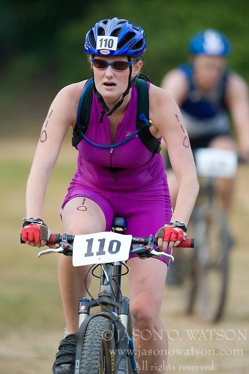 CHARLOTTESVILLE, VA - August 17, 2008 - KATRINA PELLERIN (110) in the 2008 Charlottesville XTERRA Triathlon was held at Walnut Creek Park in Albemarle County near Charlottesville, Virginia, USA.