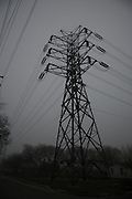High voltage lines and tower in San Antonio, TX on Feb 7, 2007. (Photos  by Lance Cheung, Copyright 2007)..PHOTO COPYRIGHT 2007 LANCE CHEUNG.This photograph is NOT within the public domain..This photograph is not to downloaded, stored, manipulated, printed or distributed with out the written permission from the photographer. .This photograph (on this web site) is protected under domestic and international laws.
