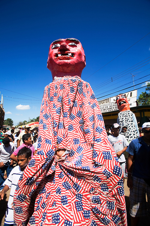 These are Mascaradas and they are a feature of every important Costa Rican festivity. During the annual festivities in San Cruz, people dress in these effigies and dance in a crazed manner in the streets.
