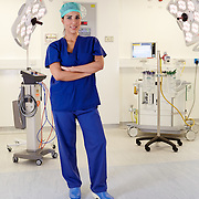 NHS Stoke, One Black Bear, surgeon posing in theatre for recruitment advertising campaign