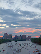 Sunset over Connecticut River from Charter Oak Bridge, Hartford, CT