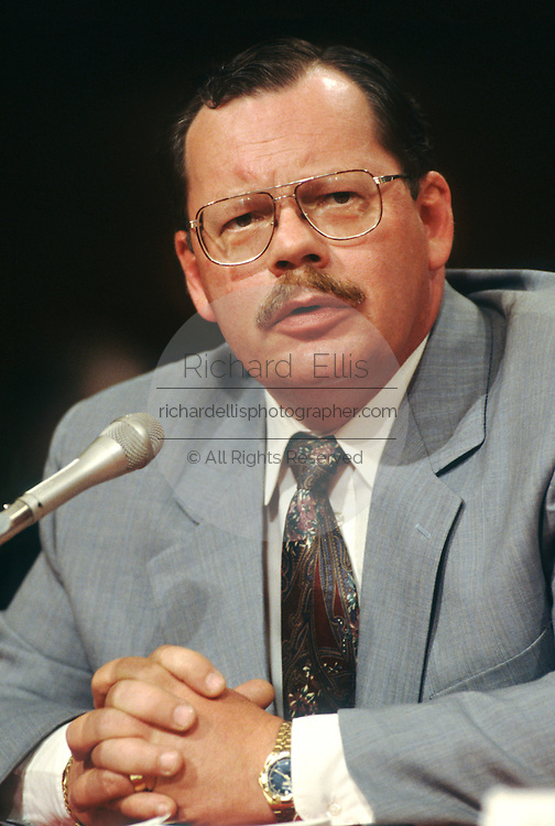 Former hostage and journalist Terry Anderson testifies in Congress July 17, 1996 in Washington, DC. In 1985 Anderson was taken hostage by Shiite Hezbollah militants and held until 1991.