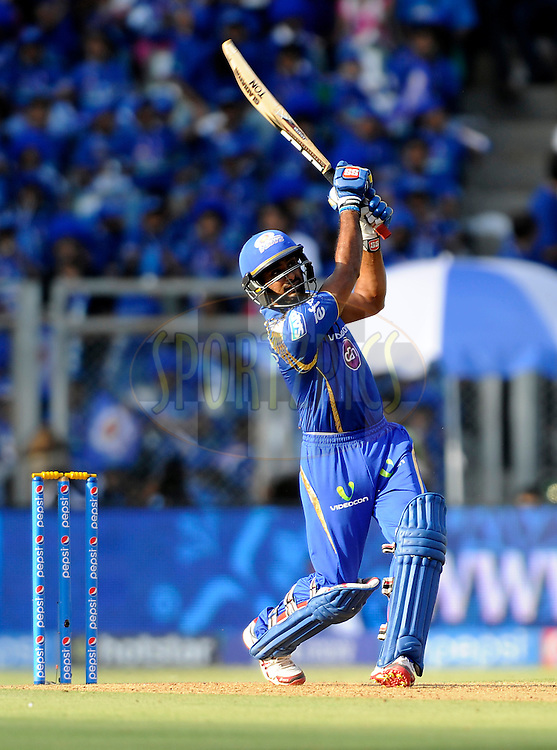 Ambati Rayudu of Mumbai Indians bats during match 23 of the Pepsi IPL 2015 (Indian Premier League) between The Mumbai Indians and The Sunrisers Hyferabad held at the Wankhede Stadium in Mumbai India on the 25th April 2015.<br /> <br /> Photo by:  Pal Pillai / SPORTZPICS / IPL