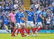 Portsmouth players celebrate after Portsmouth midfielder Kal Naismith makes it 1-1 during the Sky Bet League 2 match between Portsmouth and Northampton Town at Fratton Park, Portsmouth, England on 7 May 2016. Photo by Adam Rivers.