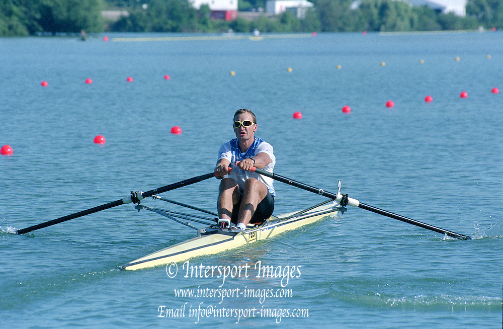 St Catherines, CANADA,  Men's Single Sculls. EST M1X. Jueri JAANSON..1999 World Rowing Championships - Martindale Pond, Ontario. 08.1999..[Mandatory Credit; Peter Spurrier/Intersport-images]   ... 1999 FISA. World Rowing Championships, St Catherines, CANADA