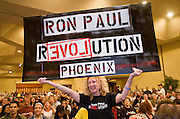 """May 22, 2008 - Phoenix, AZ: People at a Ron Paul campaign rally in Phoenix. About 850 people crowded into the ballroom at the Pointe Hilton Squaw Peak Resort in Phoenix, AZ, to hear Republican presidential hopeful Ron Paul speak. Although Arizona Sen. John McCain is the """"presumptive"""" Republican candidate for president, Texas Congressman Ron Paul is staying in the race and actively campaigning for the Presidency. Photo by Jack Kurtz"""