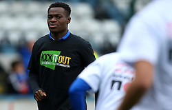 Marc Bola of Bristol Rovers wears a 'Breast Cancer Now' shirt - Mandatory by-line: Robbie Stephenson/JMP - 21/10/2017 - FOOTBALL - Crown Oil Arena - Rochdale, England - Rochdale v Bristol Rovers - Sky Bet League One
