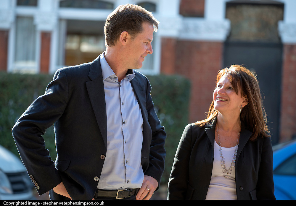 © Licensed to London News Pictures. 06/03/2015. London, UK. Deputy Prime Minister and Leader of the Liberal Democrats NICK CLEGG  and Hornsey and Wood Green MP LYNNE FEATHERSTONE visit Hornsey School for Girls today, 6th March 2015, as part of the schools work surrounding International Women's Day (March 9th). They watched a presentation by pupils on FGM, visited a careers stand promoting careers where women are under-represented and took part in a Q&A about women in politics. Photo credit : Stephen Simpson/LNP