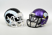 A view of Los Angeles Rams and Minnesota Vikings helmets on Thursday, November 2, 2017. (Kirby Lee via AP)