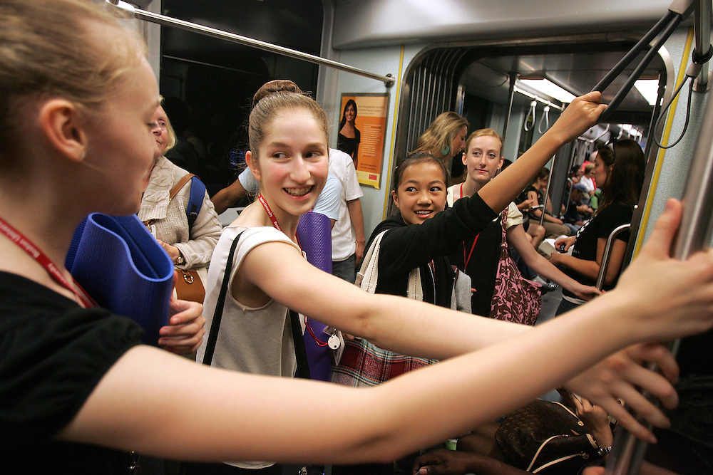 06/29/2009 Boston, MA-  Lani Dickinson, 15, and her friends from dance take the T back to their dormitory on the Boston University campus where they live while training at Boston Ballet's Summer Dance Program..