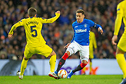 James Tavernier (#2) of Rangers FC takes on Santiago Caseres (#5) of Villarreal CF during the Europa League group stage match between Rangers FC and Villareal CF at Ibrox, Glasgow, Scotland on 29 November 2018.
