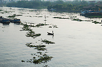 Small Boats and Barges on River