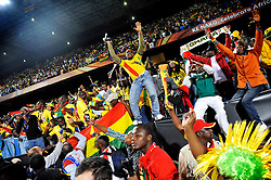 Ghana fans celebrate during the 2010 FIFA World Cup South Africa Group D match between Serbia and Ghana at Loftus Versfeld Stadium on June 13, 2010 in Pretoria, South Africa.
