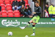 Forest Green Rovers Taylor Allen(12) warming up during the EFL Sky Bet League 2 match between Exeter City and Forest Green Rovers at St James' Park, Exeter, England on 12 October 2019.