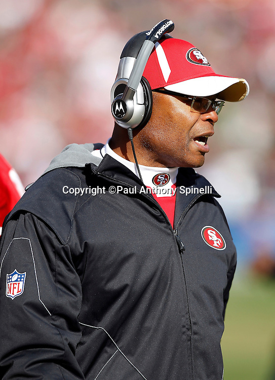 San Francisco 49ers head coach Mike Singletary calls out during the NFL week 11 football game against the Tampa Bay Buccaneers on Sunday, November 21, 2010 in San Francisco, California. The Bucs won the game 21-0. (©Paul Anthony Spinelli)