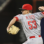 NEW YORK, NEW YORK - APRIL 27:  Pitcher Drew Hayes #53 of the Cincinnati Reds pitching during the New York Mets Vs Cincinnati Reds MLB regular season game at Citi Field on April 27, 2016 in New York City. (Photo by Tim Clayton/Corbis via Getty Images)
