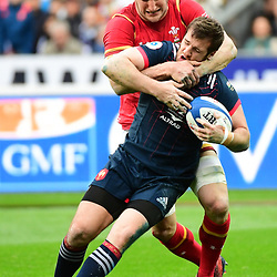 Camille Lopez of France  is tackled by Sam Warburton of Wales during the RBS Six Nations match between France and Wales at Stade de France on March 18, 2017 in Paris, France. (Photo by Dave Winter/Icon Sport)