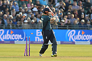 Wicket - Jonny Bairstow of England is bowled by Junaid Khan of Pakistan during the third Royal London One Day International match between England and Pakistan at the Bristol County Ground, Bristol, United Kingdom on 14 May 2019.