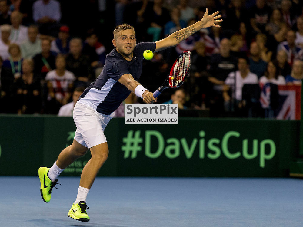 Davis Cup semi-final: Great Britain v Australia<br /> <br /> Dan Evans v Bernard Tomic during Friday's second singles Match.<br /> <br /> <br /> Picture: Alan Rennie