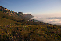The 12 Apostles of Table Mountain tower above Camps Bay and Bakoven