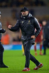 WOLVERHAMPTON, ENGLAND - Friday, December 21, 2018: Liverpool's manager Jürgen Klopp celebrates after beating Wolverhampton Wanderers 2-0 during the FA Premier League match between Wolverhampton Wanderers FC and Liverpool FC at Molineux Stadium. (Pic by David Rawcliffe/Propaganda)