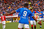 Arms outstretched Jermain Defoe runs towards his team mates after scoring their 2nd of the day during the Ladbrokes Scottish Premiership match between Hamilton Academical FC and Rangers at The Hope CBD Stadium, Hamilton, Scotland on 24 February 2019.