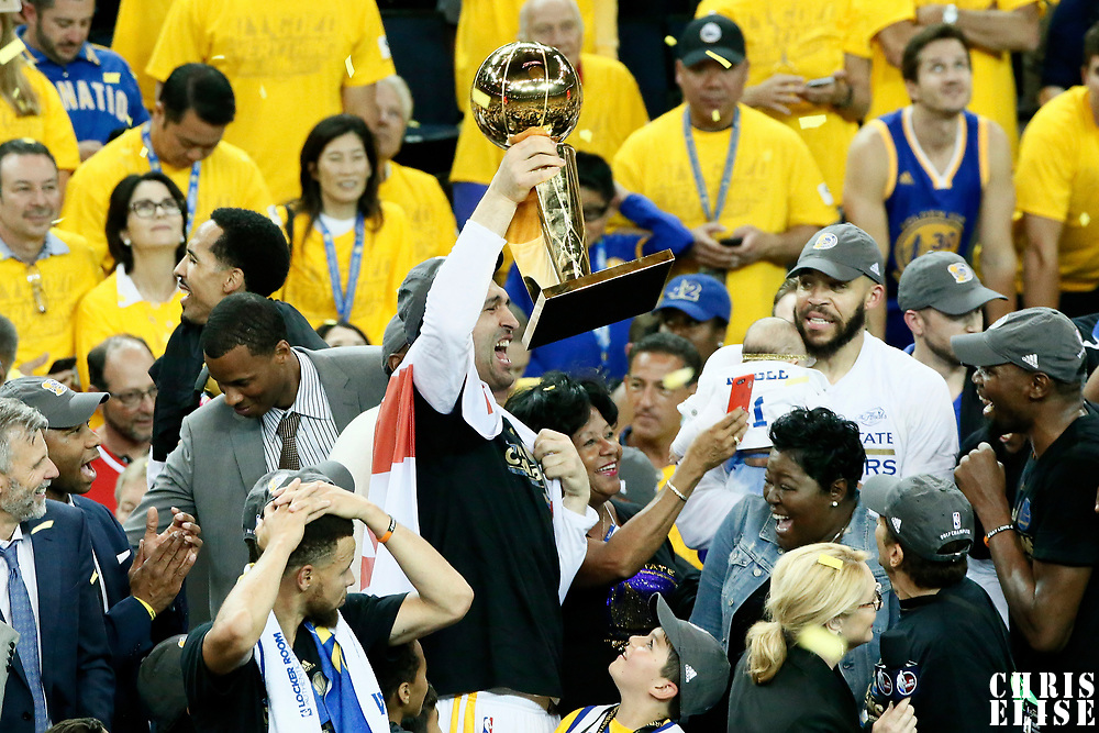 12 June 2017: Celebration with the Larry O'Brien NBA Championship Trophy by the team during the Golden State Warriors 129-120 victory over the Cleveland Cavaliers, in game 5 of the 2017 NBA Finals, at the Oracle Arena, Oakland, California, USA.