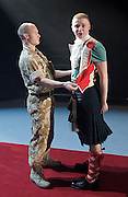 Black Watch <br /> National Theatre of Scotland<br /> written by Gregory Burke and directed by John Tiffany<br /> at The Barbican Theatre, London, Great Britain <br /> press photocall <br /> 26th November 2010 <br /> <br /> Jack Lowden (as Cammy)<br /> and ensemble<br /> <br /> <br /> Photograph by Elliott Franks
