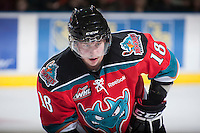KELOWNA, CANADA - NOVEMBER 23:   Cody Fowlie #18 of the Kelowna Rockets faces off against the Regina Pats at the Kelowna Rockets on November 23, 2012 at Prospera Place in Kelowna, British Columbia, Canada (Photo by Marissa Baecker/Shoot the Breeze) *** Local Caption *** Cody Fowlie;