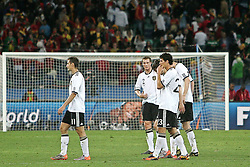 07.07.2010, Moses Mabhida Stadium, Durban, SOUTH AFRICA, Deutschland ( GER ) vs Spanien ( ESP ) im Bild Miroslav Klose ( FC Bayern Muenchen #11 ) Mario Gomez ( FC Bayern Muenchen #23 ) Marcell Jansen ( Hamburger SV #02 )  is consoled after the final whistle ( Assistenz Trainer - GER ) Foto ©  nph /  Kokenge / SPORTIDA PHOTO AGENCY