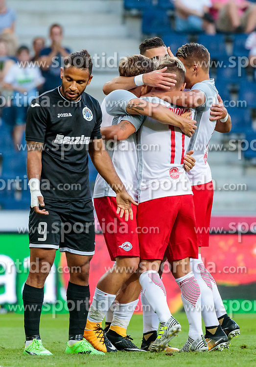 19.07.2017, Red Bull Arena, Salzburg, AUT, UEFA CL, FC Salzburg vs Hibernians FC, Qualifikation, 2. Runde, Rückspiel, im Bild Torjubel Salzburg nach dem 1:0 durch Marc Rzatkowski (FC Red Bull Salzburg), Marcelo Dias (Hibernians), Frederik Gulbrandsen (FC Red Bull Salzburg), Hannes Wolf (FC Red Bull Salzburg) // during the UEFA Championsleague Qualifier 2nd round, 2nd leg match between FC Salzburg and Hibernians FC at the Red Bull Arena in Salzburg, Austria on 2017/07/19. EXPA Pictures © 2017, PhotoCredit: EXPA/ JFK