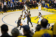 Cleveland Cavaliers forward LeBron James (23) handles the ball against the Golden State Warriors during Game 1 of the NBA Finals at Oracle Arena in Oakland, Calif., on May 31, 2018. (Stan Olszewski/Special to S.F. Examiner)