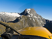 On the way to Siberia airstrip, we fly in a small airplane over Mount Alba (2360 meters elevation) in the Southern Alps, South Island, New Zealand. In 1990, UNESCO honored Te Wahipounamu - South West New Zealand as a World Heritage Area.