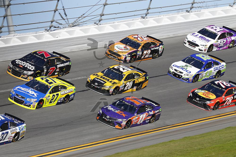 February 26, 2017 - Daytona Beach, Florida, USA: The Monster Energy NASCAR Cup Series teams take to the track for the Daytona 500 at Daytona International Speedway in Daytona Beach, Florida.