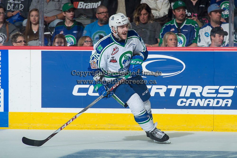 REGINA, SK - MAY 19: Tanner Nagel #25 of Swift Current Broncos calls for the puck against the Acadie-Bathurst Titan at the Brandt Centre on May 19, 2018 in Regina, Canada. (Photo by Marissa Baecker/CHL Images)
