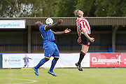 Adebayo Akinfenwa in action during the Pre-Season Friendly match between AFC Wimbledon and Cheltenham Town at the Cherry Red Records Stadium, Kingston, England on 1 August 2015. Photo by Stuart Butcher.