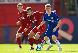 LONDON, ENGLAND - Saturday, September 29, 2018: Chelsea's Billy Gilmour and Liverpool's Pedro Chirivella (left) during the Under-23 FA Premier League 2 Division 1 match between Chelsea FC and Liverpool FC at The Recreation Ground. (Pic by David Rawcliffe/Propaganda)