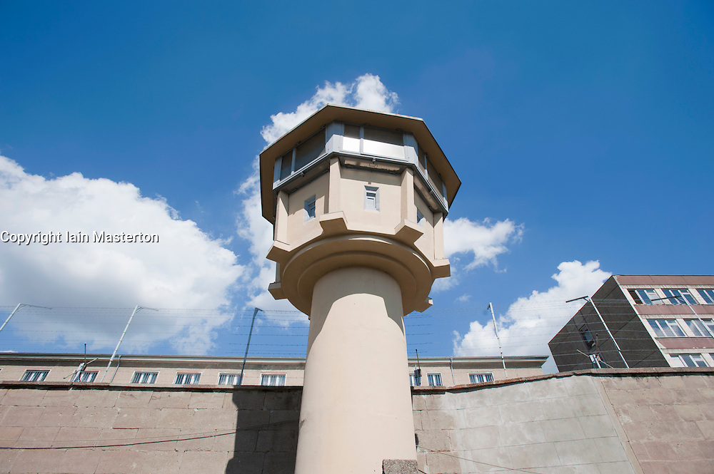 Guard tower at former East German state secret security police or STASI prison at Hohenschönhausen in Berlin Germany