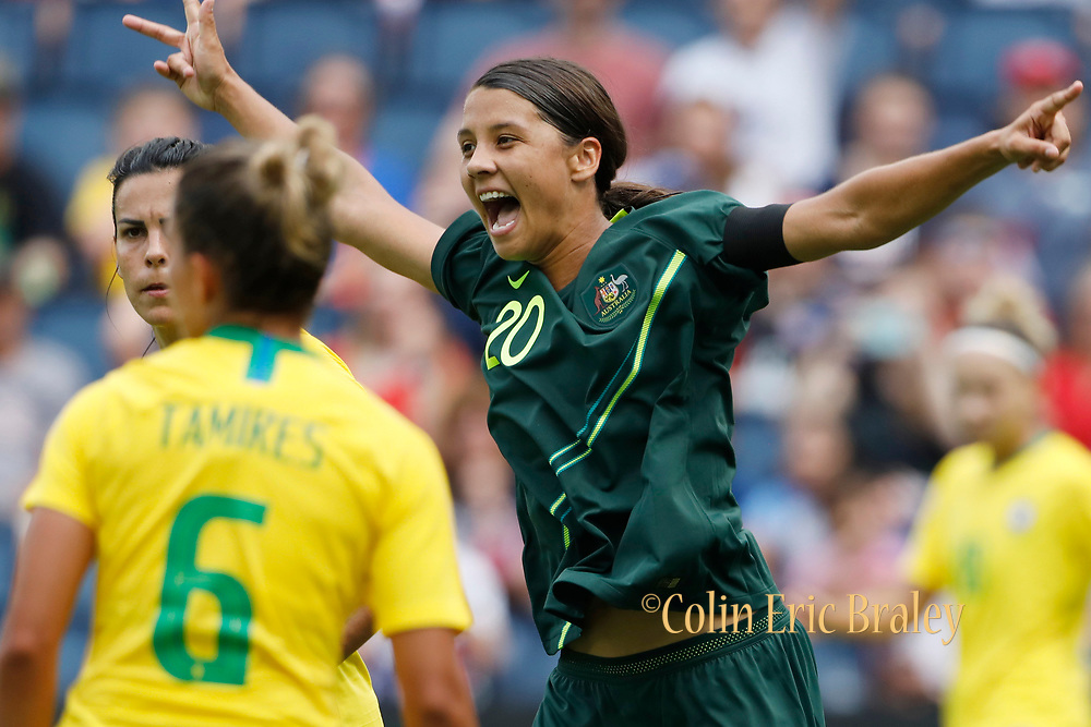 Australia's Sam Kerr (20) celebrates after a first half score against Brazil during a Tournament of Nations soccer match in Kansas City, Kan., Thursday, July 26, 2018. (AP Photo/Colin E. Braley)