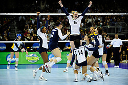 16 DEC 2010: Penn State celebrates the winning point against California during the Division I Women's Volleyball championship held at the Sprint Center in Kansas City,MO. Penn State won 3-0. Joshua Duplechian/NCAA Photos