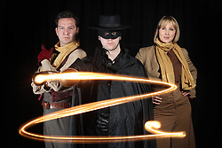 Glasgow Theatre Company Visible Fictions prepare for a three month tour of the USA with their hit family show Zorro.<br /> (l-r) Richard Conlon ( Esteban & Storyteller); Jonothan Holt ( Zorro) ; Claire Dargo ( Isabella & Storyteller)