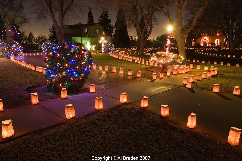 Luminarias for Christmas Eve on Pennsylvania Circle, El Paso, Texas.