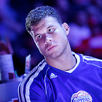 23 October 2013: Los Angeles Clippers power forward Blake Griffin (32) is seen prior to the Los Angeles Clippers 103-99 victory over the Utah Jazz at the Staples Center, Los Angeles, California, USA.