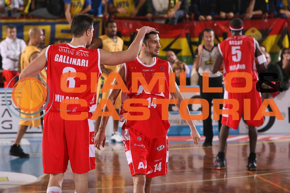 DESCRIZIONE : Porto San Giorgio Lega A1 2007-08 Premiata Montegranaro Armani Jeans Milano <br /> GIOCATORE : Danilo Gallinari Dusan Vukcevic <br /> SQUADRA : Armani Jeans Milano <br /> EVENTO : Campionato Lega A1 2007-2008 <br /> GARA : Premiata Montegranaro Armani Jeans Milano <br /> DATA : 04/11/2007 <br /> CATEGORIA : Delusione<br /> SPORT : Pallacanestro <br /> AUTORE : Agenzia Ciamillo-Castoria/G.Ciamillo