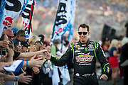 Kyle Busch (18) of the Interstate Batteries Toyota greets fans before the Sprint Cup NRA 500 at Texas Motor Speedway in Fort Worth on Saturday, April 13, 2013. (Cooper Neill/The Dallas Morning News)