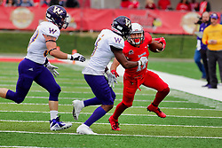 NORMAL, IL - October 06: Spencer Schnell during a college football game between the ISU (Illinois State University) Redbirds and the Western Illinois Leathernecks on October 06 2018 at Hancock Stadium in Normal, IL. (Photo by Alan Look)
